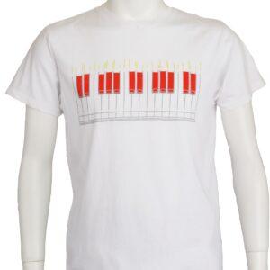 """""""ピアノのために"""" ピアノ鍵盤デザインのTシャツ"""