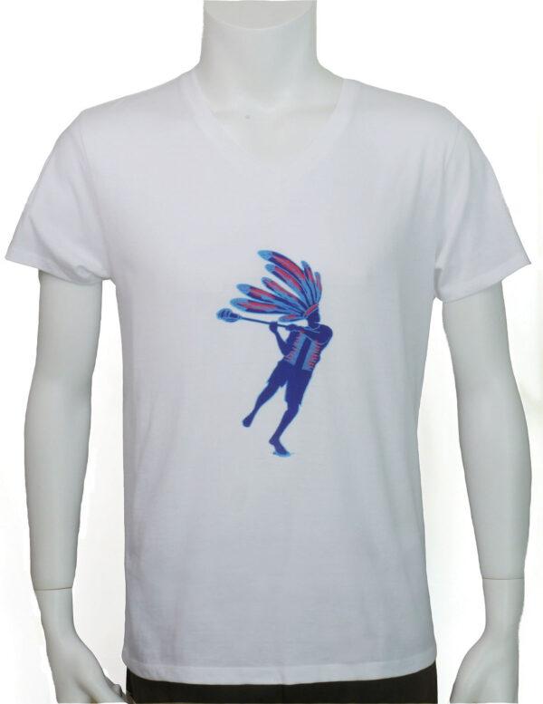 メンズラクロスプレーヤー 白地半袖Tシャツ