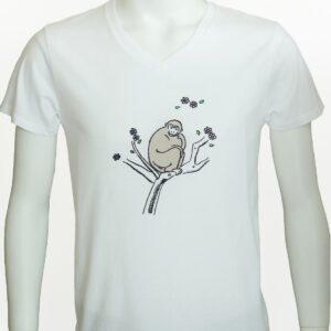 """白VネックTシャツ""""幸せのおさる"""""""