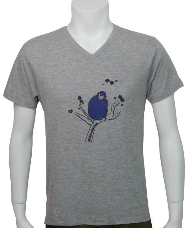 """グレーVネックTシャツ""""幸せのおさる"""""""