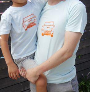 おしゃれな親子Tシャツ-オレンジオープンカー