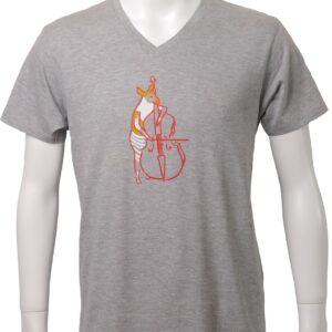 コントラバスを弾くオカピ、音楽デザインのTシャツ