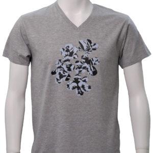 floral – グレー地VネックTシャツ