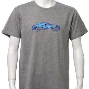 Car with brushstrokes – グレー地 ブルー柄 クルーネックTシャツ